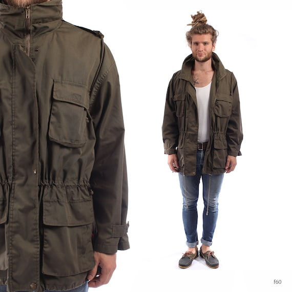 Men PARKA JACKET . Vintage 90s Grunge Drawstring Short Hooded Coat