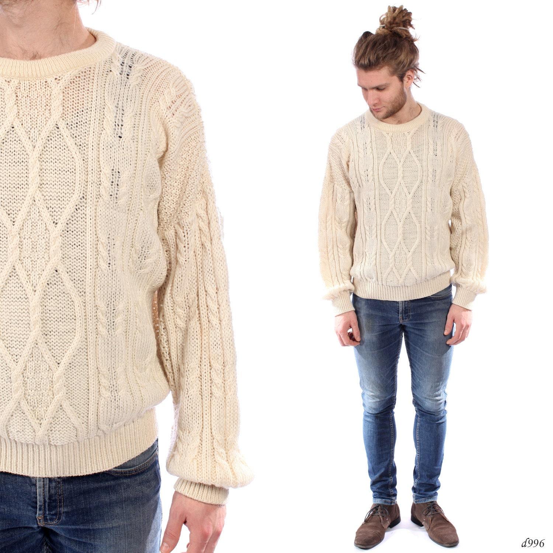 Mens ARAN Sweater . Loose Fit Cable Knit Jumper Fisherman