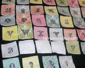 SALE A-Z Fabric Flash Cards from Andover Fabrics - Love Notes- Ornamental- Pastel-Felt Backing for felt boards. 0-9 Numbers