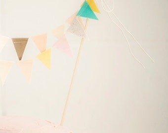 Earthy Pastel / Wedding Cake Topper / Bunting Cake Topper / Bridal Shower Cake Topper / Bohemian Cake Topper / Cake Topper Wedding