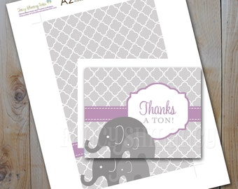 Printable DIY Thank you Cards / Purple and Grey Elephant / Instant Download Item 11403