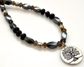 TREE OF LIFE Pendant Necklace with Beads of Hematite, Smoky Quartz and Onyx - Adjustable Crystal Necklace for Grounding