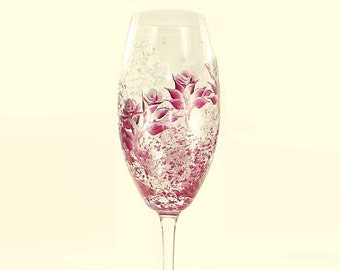 Hand Painted CRYSTAL Champagne Glasses, Set of 2 - Ruby Red and Silver Roses - Wedding Champagne Toast Flutes Custom 25th Anniversary Gifts
