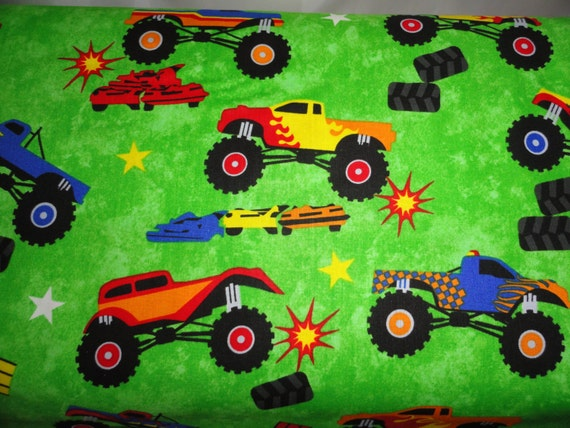 Monster trucks fabric cotton quilting sewing by for Monster truck fabric