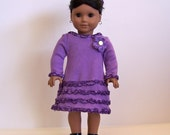 Purple Knit Dress and Sandals for American Girl and Other 18 inch Dolls