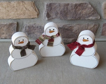 3 Free Standing SNOWMAN BLOCK SET for Winter, Christmas, December, January, shelf, desk, office and home decor