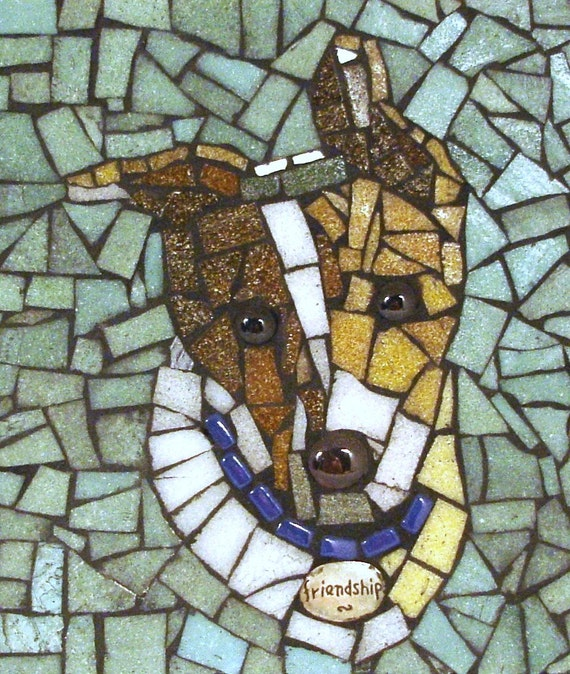 personalized gift ... PET PORTRAIT in mosaic from your  photo ... custom made to order, takes 1-2 weeks
