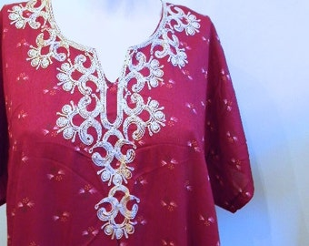 Vintage Dress • Embroidered Dress  • Ethnic Dress • 70s Deep Red Caftan Bohemian Moroccan Dress  •  Free Size