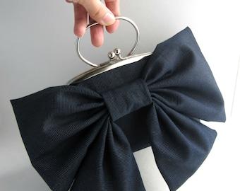 SALE Ready To Ship- Dark blue bow clutch with handle- frame clutch purse
