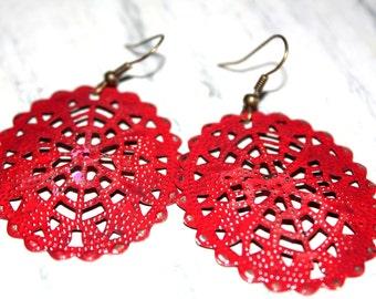 Red Filigree Earrings Hand Painted Earrings Boho Earrings Rustic Distressed Jewelry Dangle Earrings