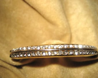 Rhinestone Bangle Style Bracelet - Cuff Gold Tone Vintage
