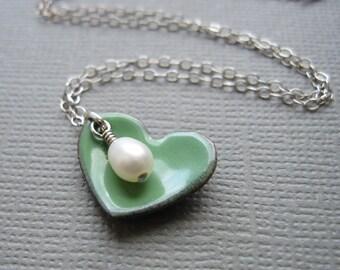 Green Heart Necklace White Pearl Sterling Silver Enamel