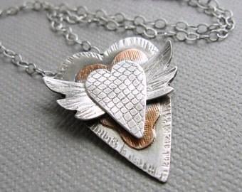 Taking Flight Winged Heart Necklace Sterling Silver Copper