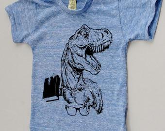 T-Rex Shirt, funny t-shirt, funny dinosaurs, dinosaur t-shirt, dinosaur book, glasses, rawr, etsykids team, blue