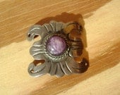 piece from an old mexican bracelet, sterling and amethyst