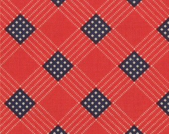 PRAIRIE PAISLEY II red blue bias plaid Texas Moda shabby quilt fabric America Minick Simpson patriotic blender 1 yard 14737-11