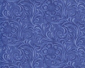 TOOLED LEATHER blue 3 yds cotton quilt fabric Moda King of the Ranch Americana western cowboys medium blue 3 full yards 11216-23