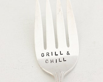 Grill & Chill Serving Fork Father's Day Gift Idea, Summer Barbeque, Foodie Gifts, Hand Stamped Flatware,Made to Order