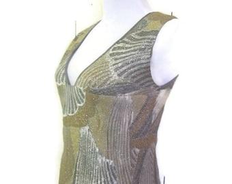 Vintage 1940s Dress, Metallic and Silk, Gown , floor length,   Art Deco
