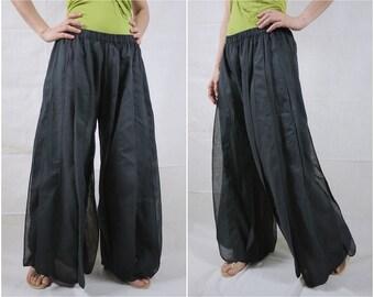 Ocean Breeze....Kelp Forest Striped Detail Boho Hippie Funky Black Light Cotton Pants With Elastic Waist