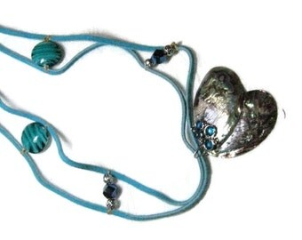 Paua Shell Pendant Necklace, Leather and Shell Necklace