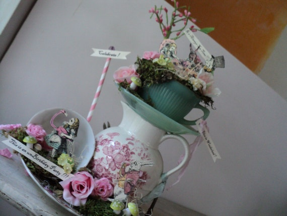 alice in wonderland birthday party stacked tea cups