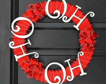 Ho Ho Ho Holiday Wreath, Christmas Wreath for the Door, Santa Wreath, Christmas Door Wreath