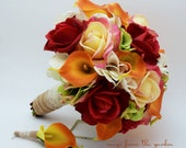 Reserved - Autumn Wedding Bridal Bouquet Groom's Boutonniere Confetti Red Real Touch Roses Calla LilyFall Color Bouquet