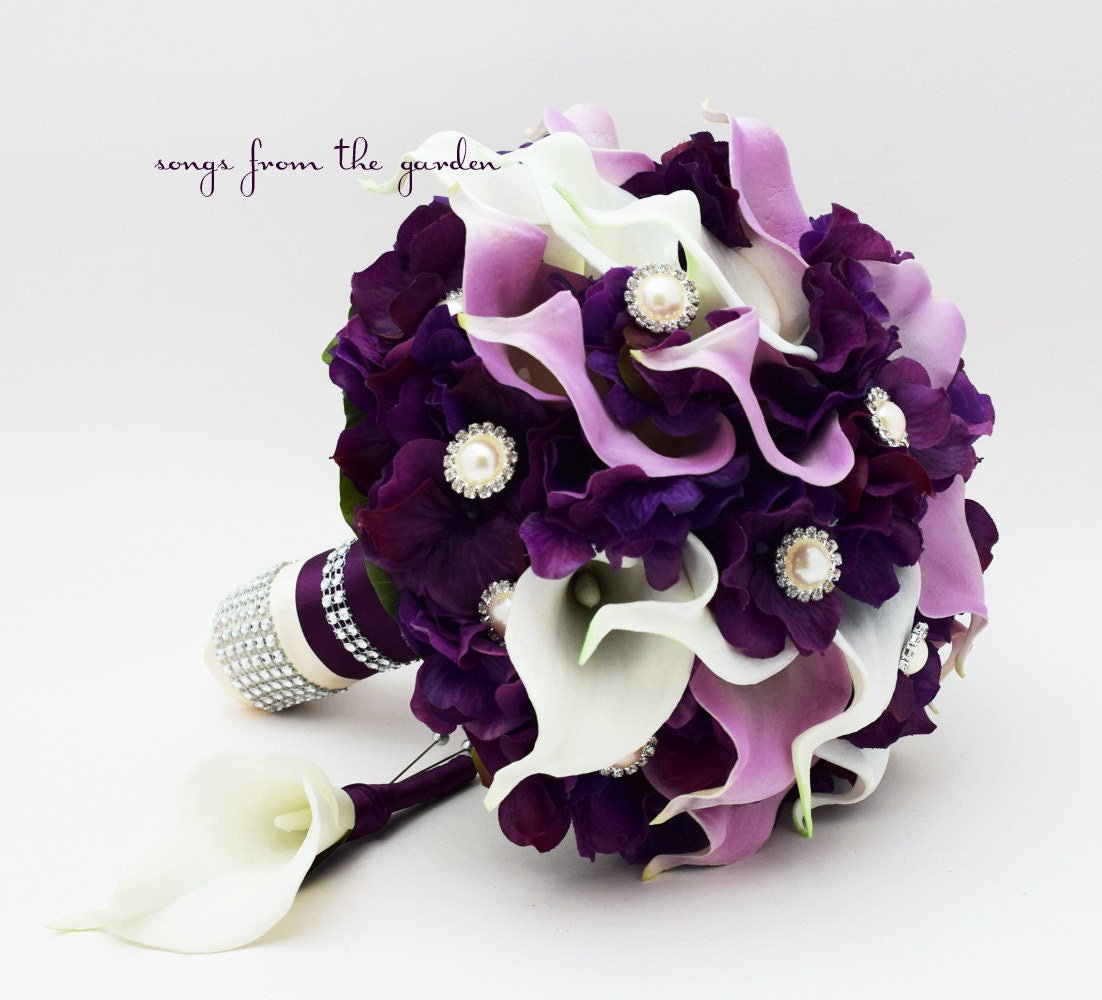 Purple Lily Bridal Bouquet : Purple lavender real touch calla lily wedding bouquet