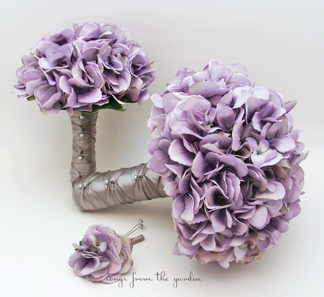 Bridal Bouquet Lavender Silk Hydrangea Groom Boutonniere Toss