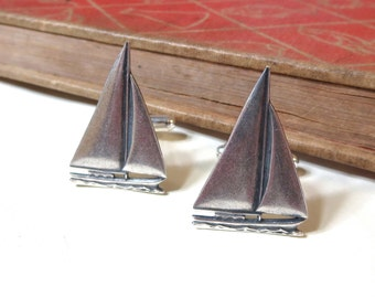 Antique Silver Sailboat Cuff LInks - Sailing - Nautical - Navy - Yaht - Sail Boat Cufflinks - Antiqued Silver - Soldered