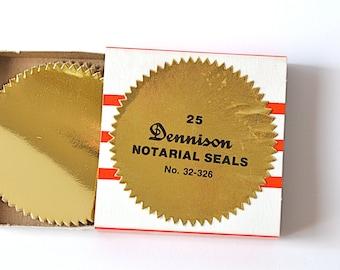 Vintage Gummed Dennison Notarial Seals