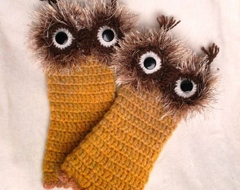 Hand Crochet TWO OWLS Fingerless Gloves Mittens Pure Wool Yarn Ready to ship