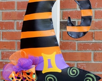 Witch Hat Door Hanger with deco mesh bow