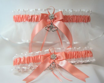 Double Heart Wedding garters Coral Garter set