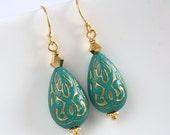 Gold Earrings, Teardrop Earrings, Turquoise Teardrop Earrings, Middle Eastern, Ornate Turquoise Earrings - Moroccan Teardrop Dangles