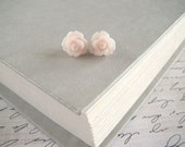 Pink Flower Earrings, Pale Pink Earrings, Stud Earrings, Bridesmaid Jewelry, Blush Pink Earrings - Palest Candlelight Pink Earrings