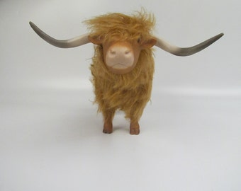 Scotish Heilan Coo Sculpture, Porcalin and Mohair