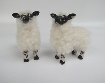 Scottish Ram Lamb Figurines in Porcelain and Wool
