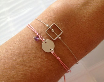 Initial Stamp Wish Bracelet with Tiny Stone - Customizable Wish Bracelet - Friendship Bracelet - Sterling Disc with Clasp - Keepsake Jewelry