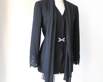 vintage rare Rickie Freeman luxurious lace black evening blazer with elegant attached silk chiffon scarf