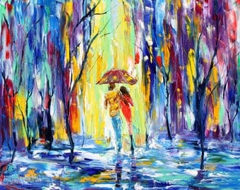 Fine art Print made from image of oil painting Rainy Love - print by Karen Tarlton