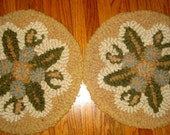 1940s Hand Crafted  Punch Needle Rug Chair Pads - Set of 2