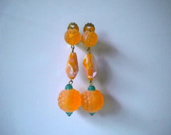 Vintage Peach and Green Earrings