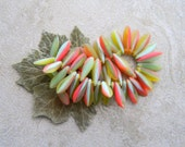 Striped Dagger Beads, Czech Glass Beads, Long Daggers, 16x5mm, Matte Marbled Multicolour (50pcs)