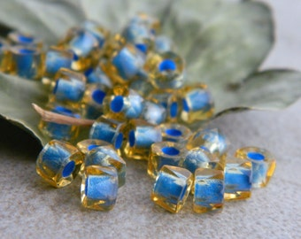 Large Hole Blue Glass Beads, Czech Glass Beads, Glass Facetted Rondelle Spacers, 6mm, Transparent Topaz & Blue Core (30pcs) NEW