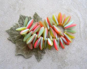 Striped Dagger Beads, Czech Glass Beads, Long Daggers, 16x5mm, Matte Marbled Multicolour (50pcs)