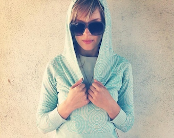 Aqua and Silver knit brocade cropped hoodie