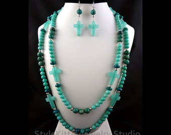 Amazonite Quartz, Chrysocolla, Blue Jasper, Aqua Jade, Long Double Strand, Cross Necklace, Dangle Earring, 925 Sterling Silver, Set, Layered