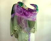 Large silk scarf - amethyst and green - nuno felt - silk shawl - special event